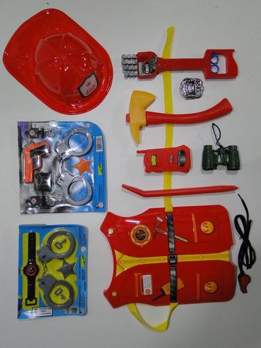 fantasia bombeiro infantil mirim criança colete binoculo