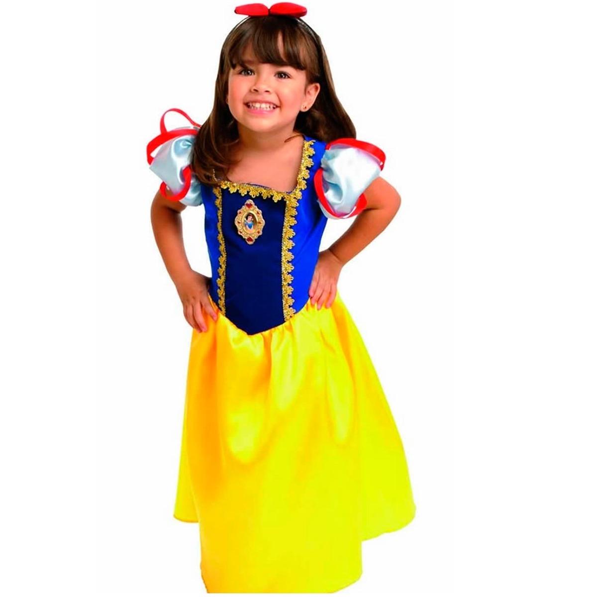 05cf94d5b4d988 Fantasia Branca De Neve De Luxo Ofical Disney Capa E Tiara