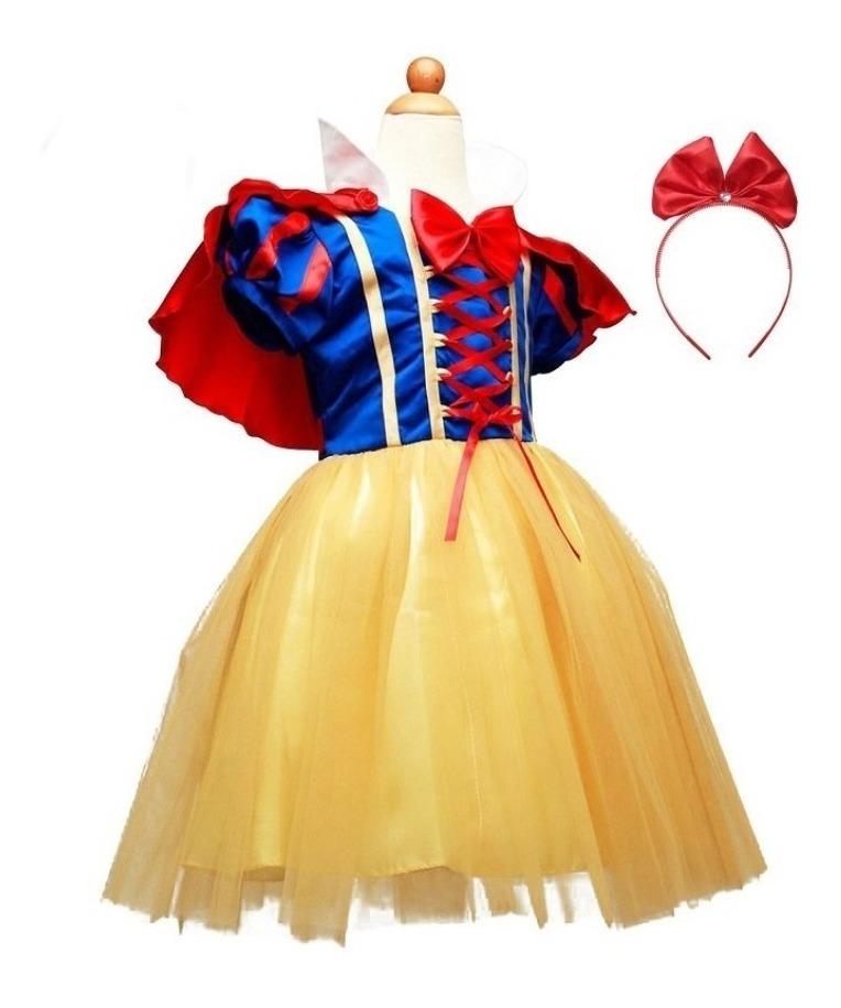 b41c3fdfed9f59 Fantasia Branca De Neve Infantil Luxo ,vestido + Tiara +capa