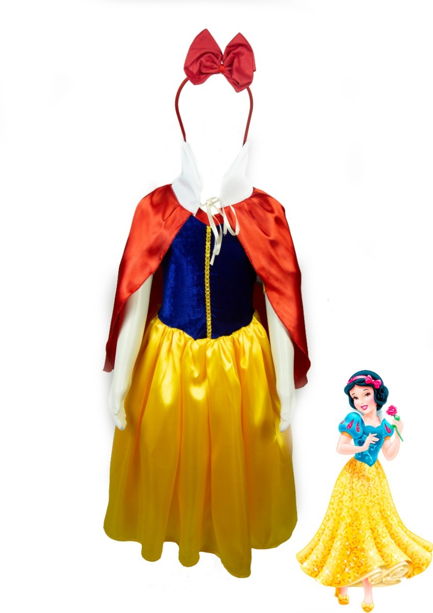 d4c93dcae91cc0 Fantasia Branca De Neve Vestido Infantil Luxo + Capa + Tiara
