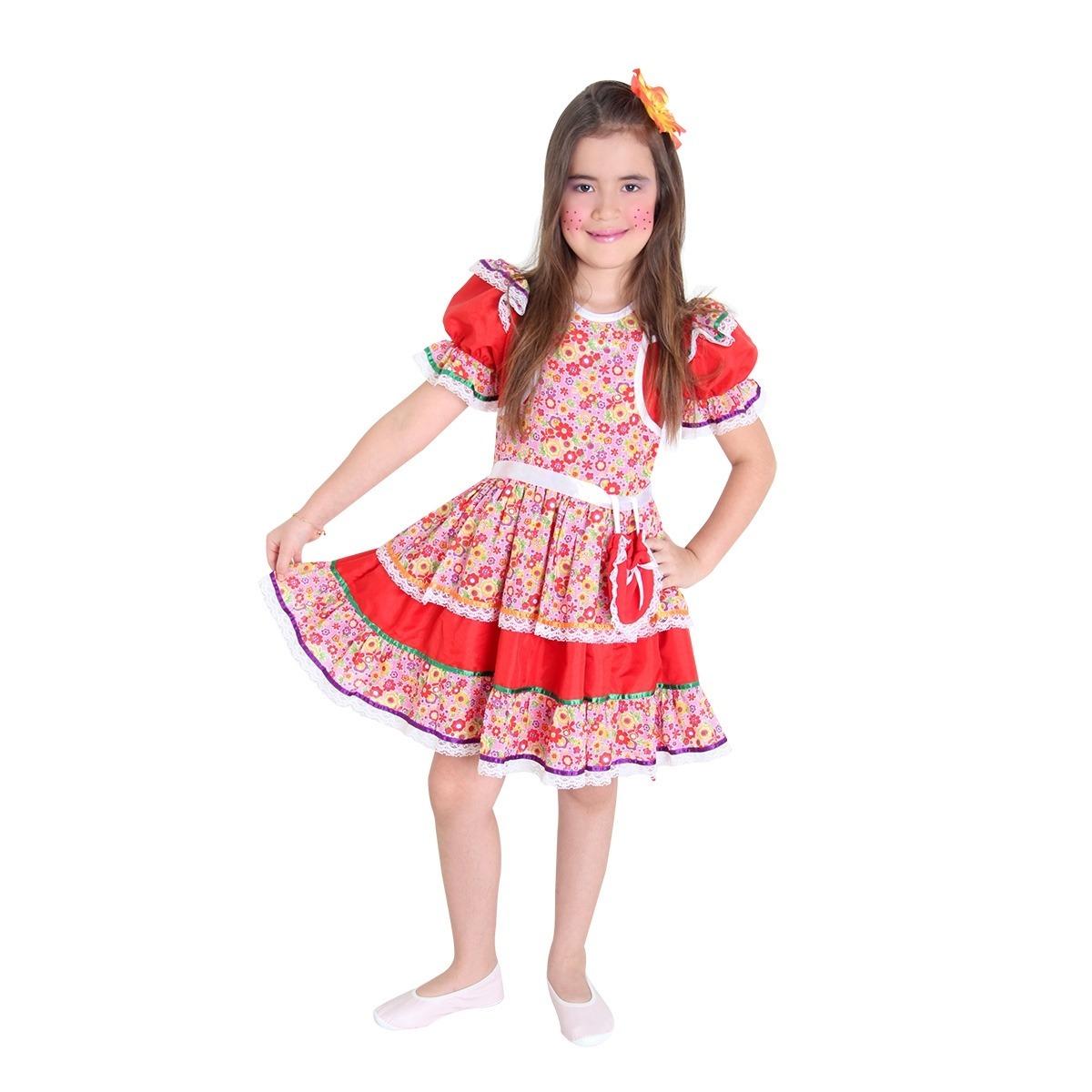 Fantasia Caipira Infantil Luxo C Bolsa Festa Junina Vestido