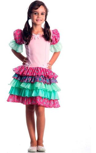 fantasia caipira infantil luxo rosa tamanho p sulamericana
