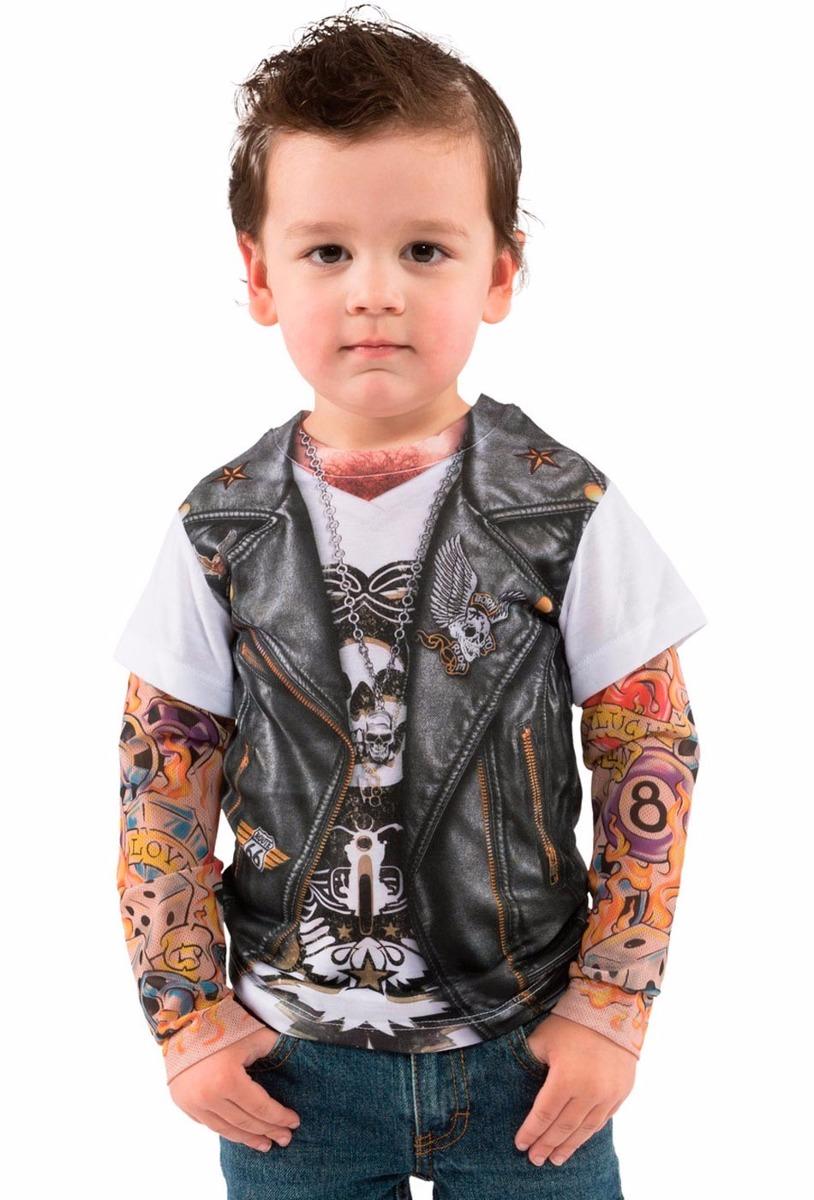 Fantasia Camiseta Motoqueiro Infantil C/ Tatuagem Na Manga - R$ 13999 em Mercado Livre