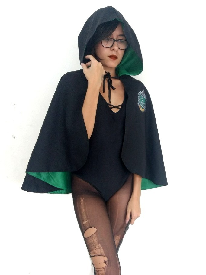 Fantasia Capa Curta Harry Potter Sonserina Unissex Adulto R 7990