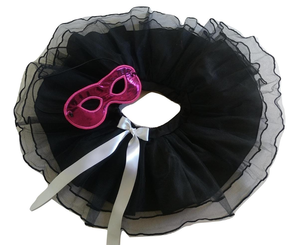 5f7cf5842 fantasia carnaval criança infantil tutu e máscara preto pink. Carregando  zoom.
