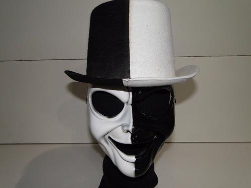 fantasia cartola e mascara preta branca dupla face duas cara