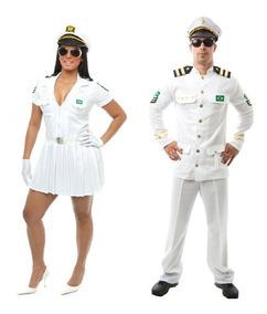 7b66c6118a48e9 Fantasia Casal Capitã E Capitão Da Marinha Adulto
