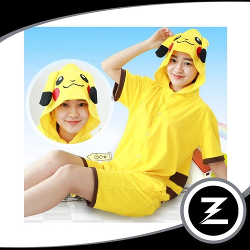 fantasia cosplay picachu fa021 pijama macacão adulto curto