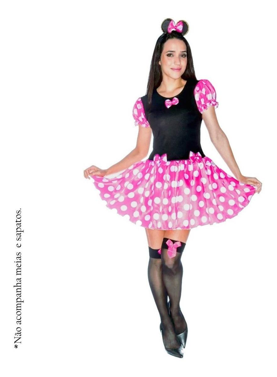 4c54a942fb fantasia da minnie rosa adulto vestido da minie + tiara. Carregando zoom.