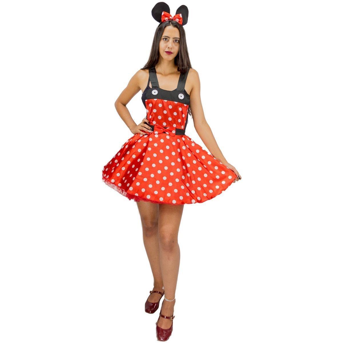 ea8d72d54 fantasia de carnaval feminina minnie vermelha adulta p ao g. Carregando  zoom.