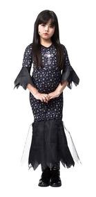 307403c01993cb Fantasia Mortícia Addams Vestido D Halloween Pronta Entrega
