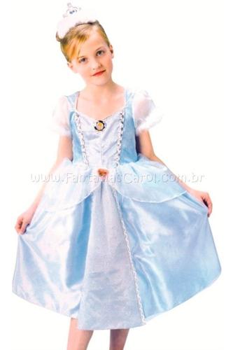 fantasia de luxo princesa cinderela vestido azul e coroa
