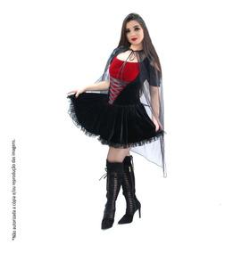 e89bd4287ac25a Fantasia De Vampira Adulto Drácula Veludo Super Luxo C/ Capa