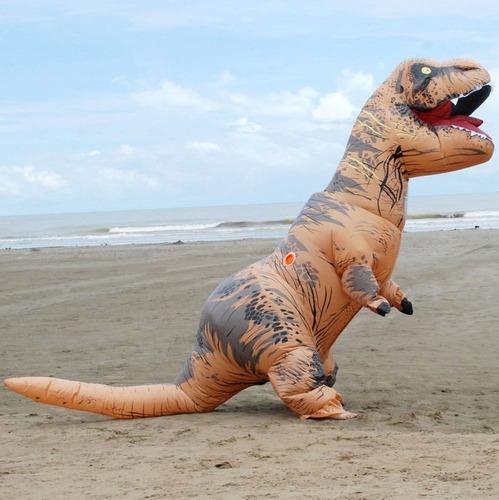 fantasia dinossauro rex inflável - sucesso das redes sociais