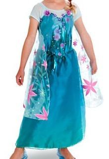 fantasia elsa frozen kit 4 peç vestido, peruca, tiara, cetro