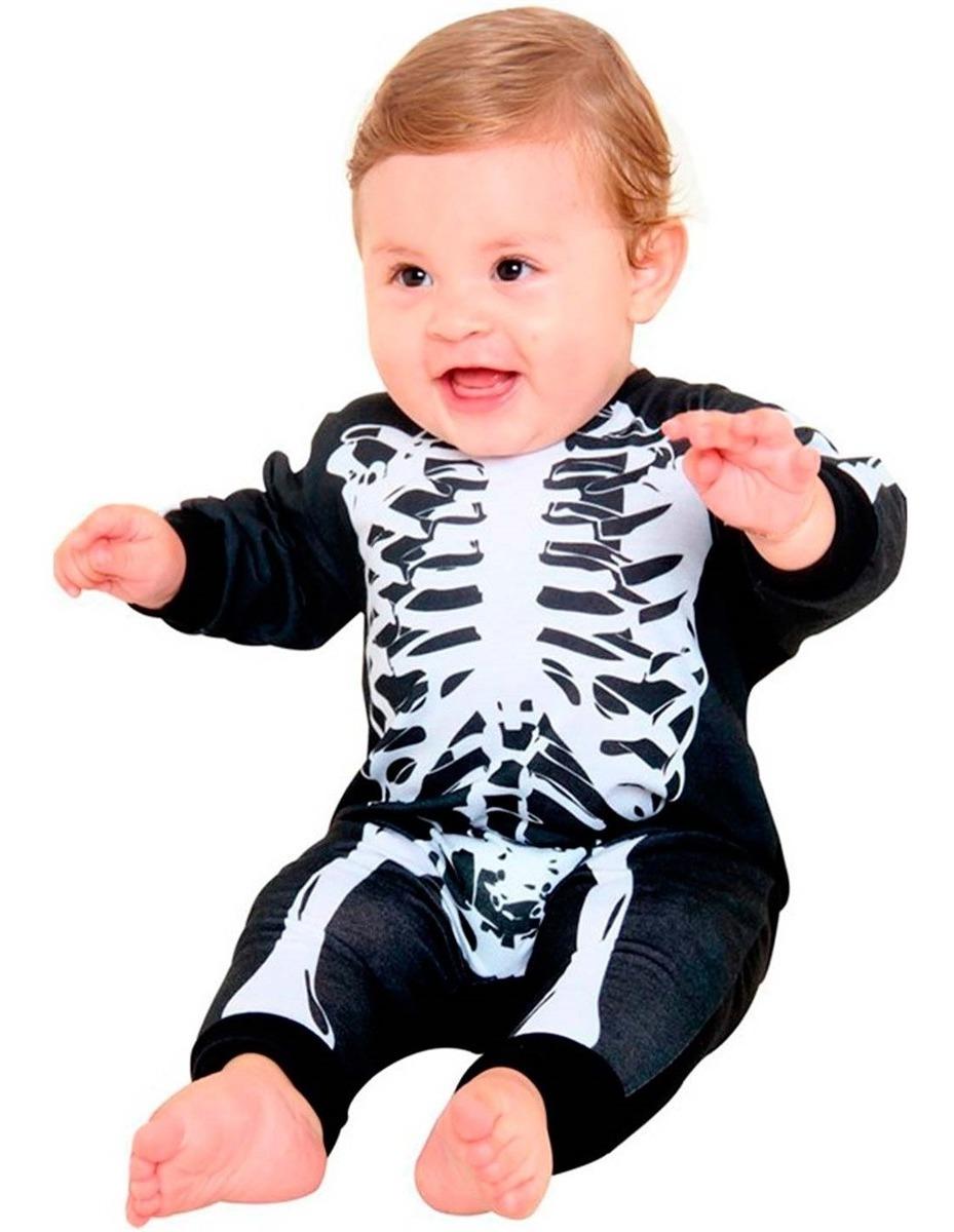 e259eabfeb74f5 Fantasia Esqueleto Bebê Halloween Sulamericana Body 3/12 M