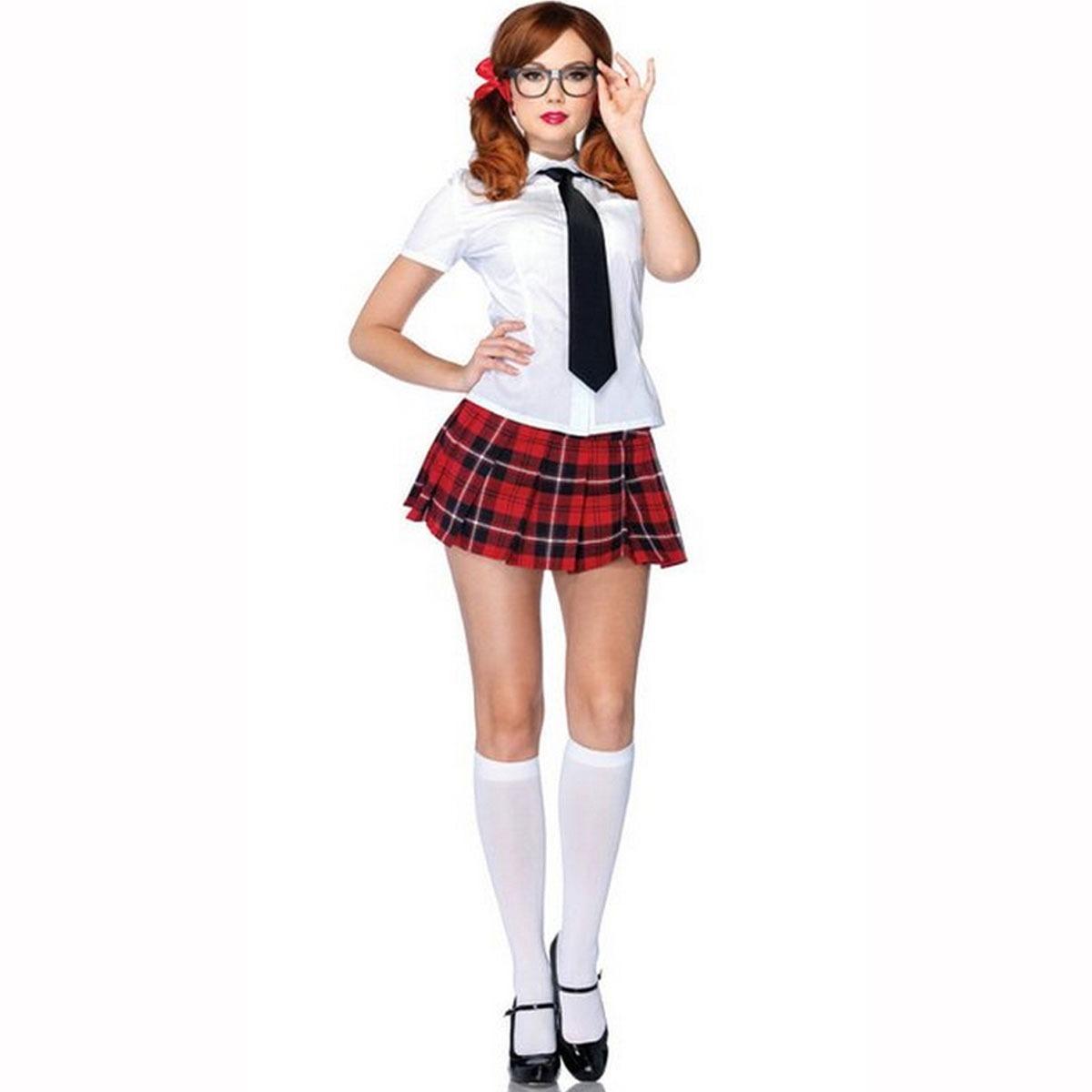 e1108684b Fantasia Estudante Feminina C Saia Xadrez Vermelha E óculos R