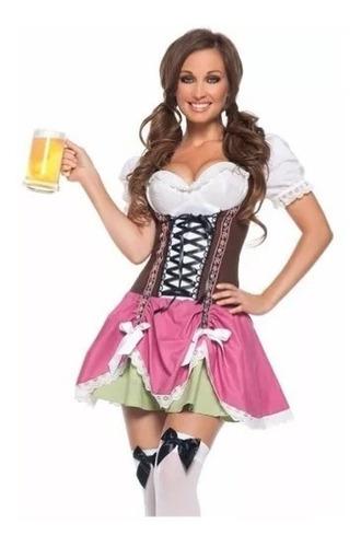 fantasia feminina adulto alemã oktoberfest rosa e marrom