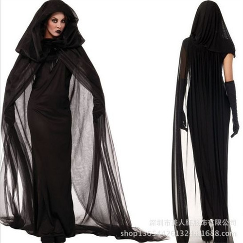 fantasia feminina adulto dama das trévas halloween