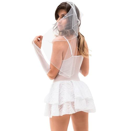 fantasia feminina noivinha sexy lingerie sensual completa