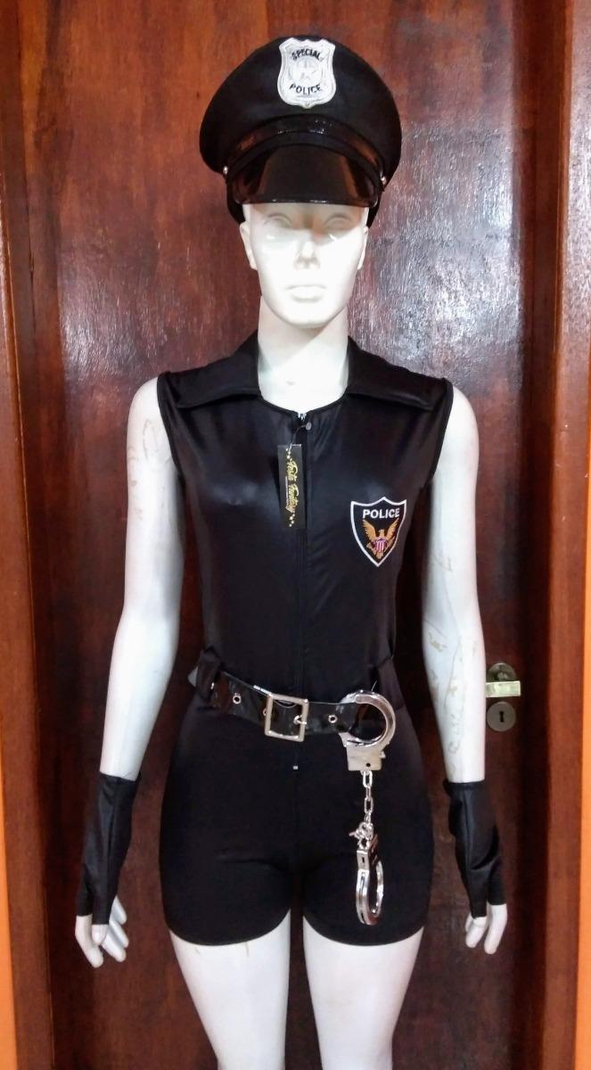 6555f1445 fantasia feminina policial macaquinho completa + cassetete. Carregando zoom.