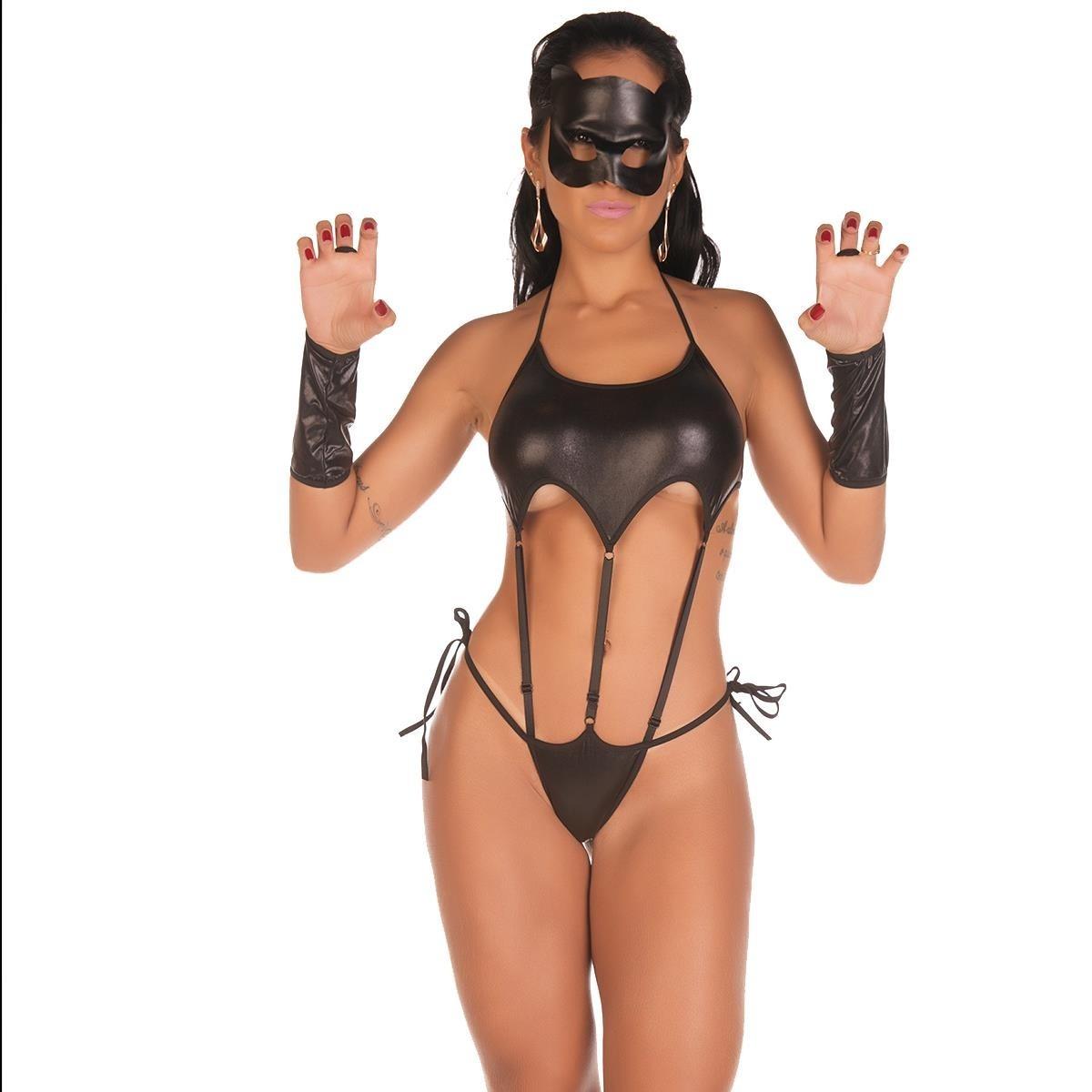40196ad8c fantasia feminina sexy mulher gato lingerie body sensual. Carregando zoom.