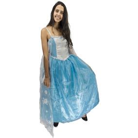 6751912eb14f88 Fantasia Frozen Adulto Feminino Disney Elsa Luxo Com Capa
