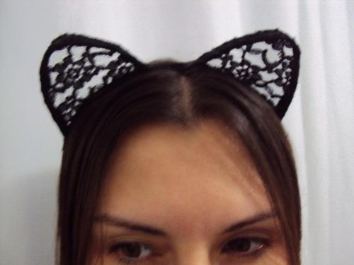 fantasia gata gatinha infantil tiara de renda pronta entrega
