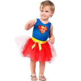 f97d5b858d39ea Fantasia Heroína Super Mulher Vestido Bebê Original 0/1 Ano