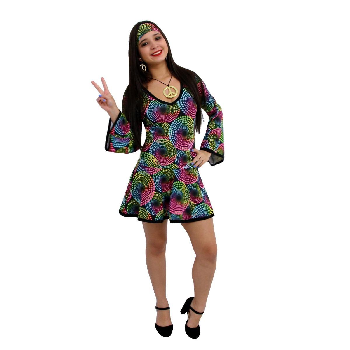 Fantasia hippie feminina adulto vestido anos 70 roupa - Moda hippie anos 70 ...