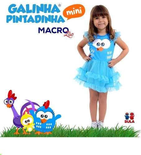 fantasia infantil bebê galinha pintadinha vestido sula 30510