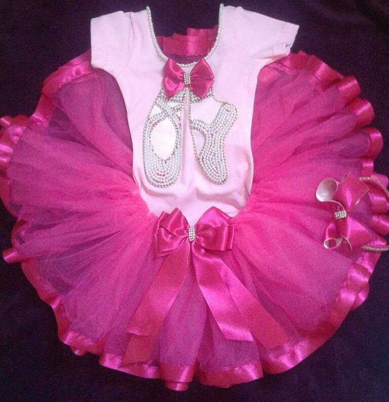 cb079317ca Fantasia Infantil Com Saia Tutu Bailarina Rosa E Pink - R  170