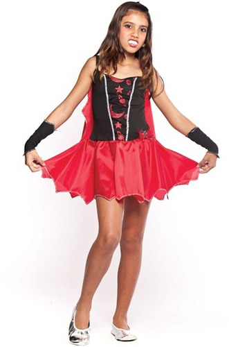 fantasia infantil de vampira menina para halloween