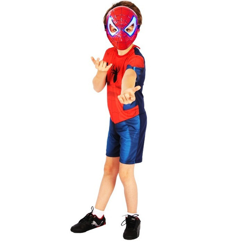 fantasia infantil homem aranha ultimate curta c/ luz led