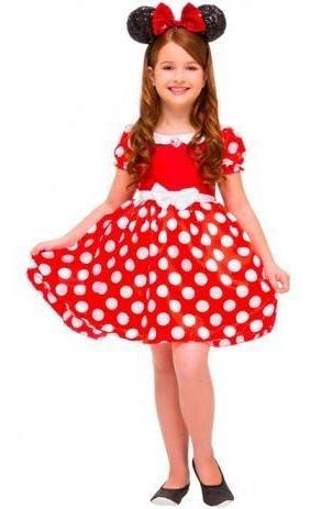 fantasia infantil luxo minnie vermelho  tamanho p rubies