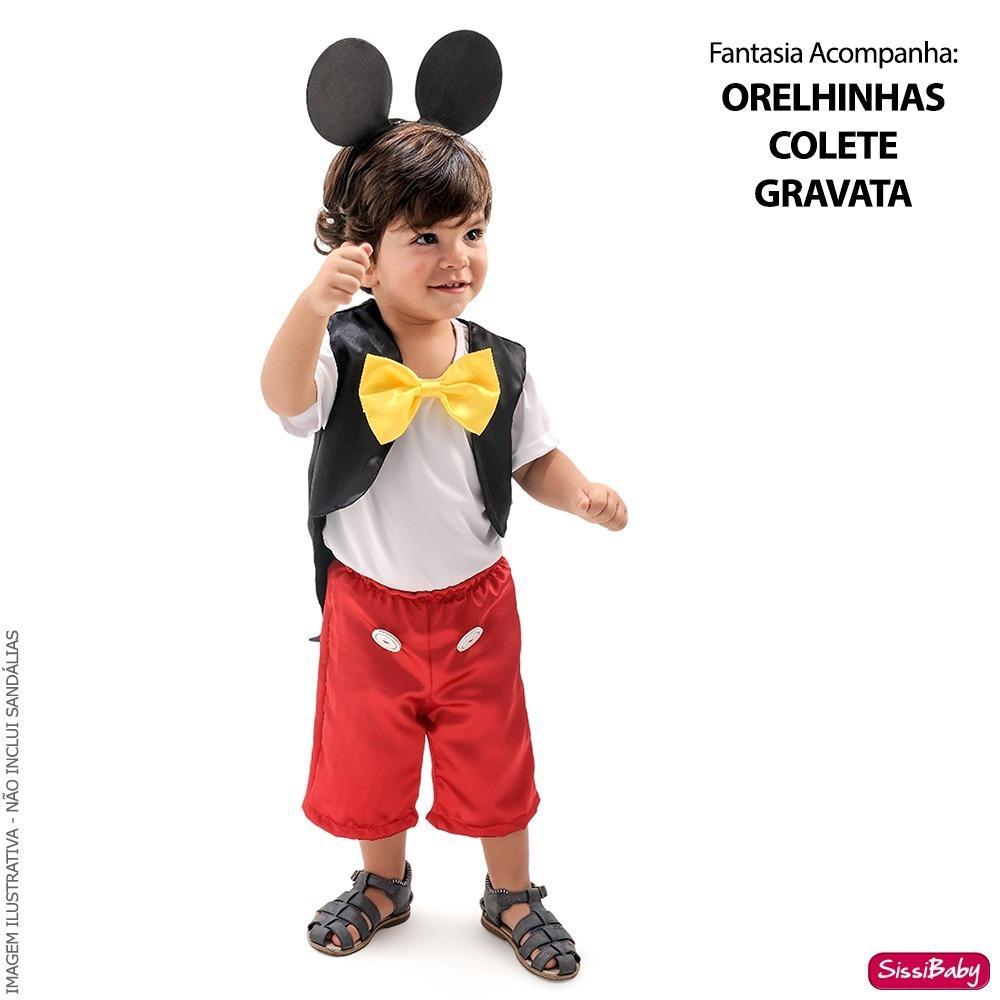 9e420595f2 Fantasia Infantil Mickey Luxo Com Orelhinha E Frete Grátis - R  120 ...