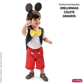 9e81b760da7c14 Fantasia Infantil Mickey Mouse Menino Luxo E Orelhinha