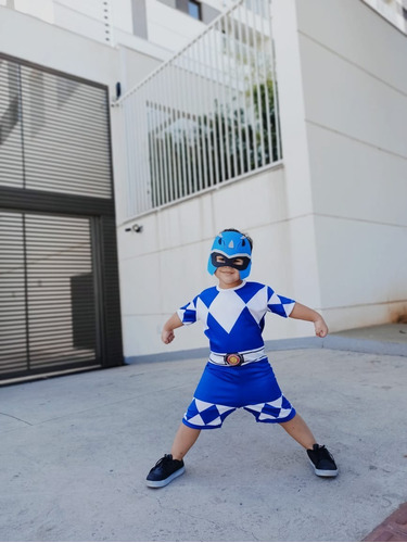 fantasia infantil power ranger azul - festa, criança