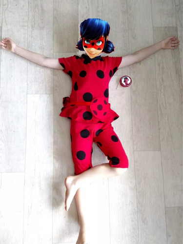 fantasia infantil verao ladybug completa+ ioiô+bolsa