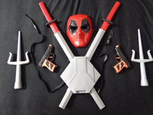 fantasia  kit infantil deadpool mascara kitana pistola