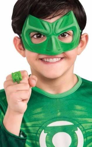 fantasia longa infantil lanterna verde com máscara e anel