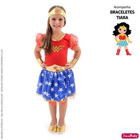 fcb5942c91 Fantasia Infantil Mulher Maravilha no Mercado Livre Brasil