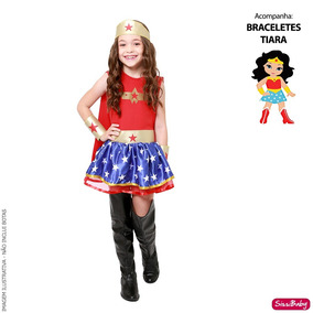 344e05a6450f5d Fantasia Luxo Mulher Maravilha Infantil Capa Tiara Bracelete