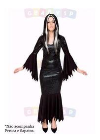 715deed5aceb84 Fantasia Morticia Addams Vestido Morgana Halloween Bruxa