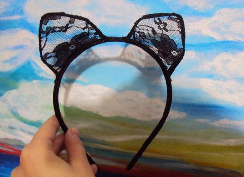 fantasia mulher gato tiara orelhas de gato em renda preta