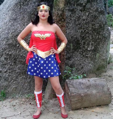 fantasia mulher maravilha completa carnaval pronta entrega