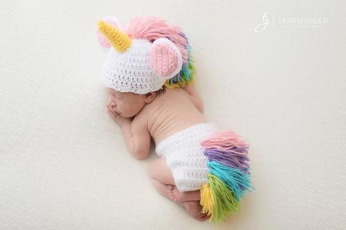 fantasia newborn unicórnio em crochê rn a 1 ano
