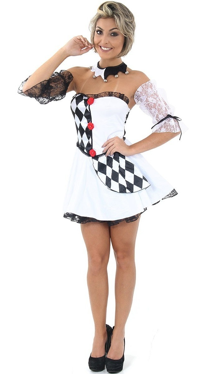d85685a99a29da Fantasia Palhaço Pierrot Feminino Adulto Luxo Para Carnaval