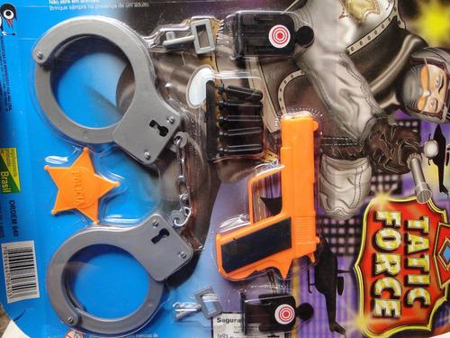 fantasia policia infantil pistola algema tiro alvo distintiv