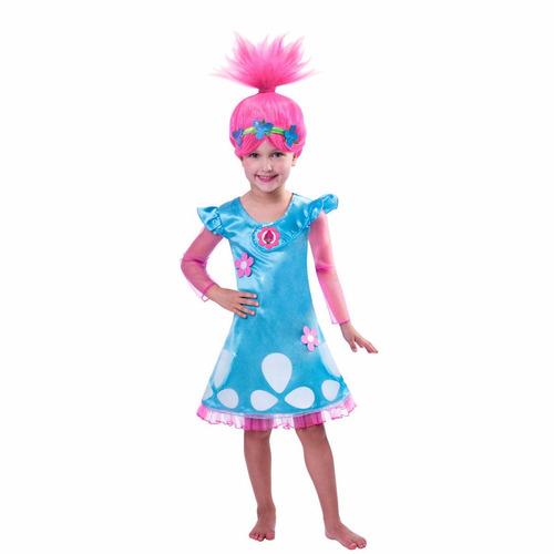fantasia poppy trolls + peruca 8/9 anos - pronta entrega